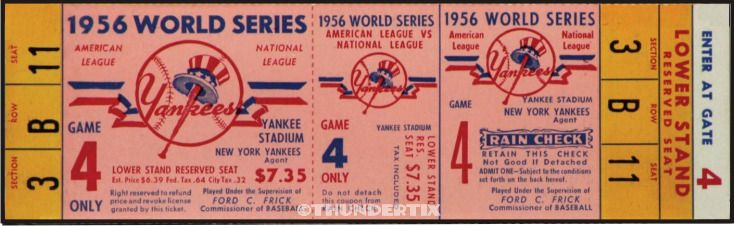 5 1956 Baseball All Star World Series Game Vintage Unused Full Tickets Rpo World Series Baseball Ticket World Series Tickets