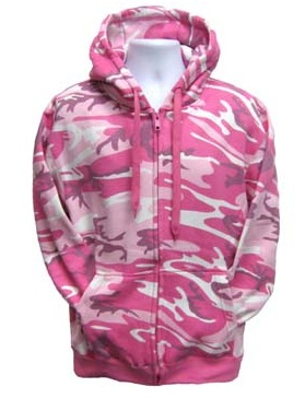 Pink Camouflage Zipper Hood Jacket