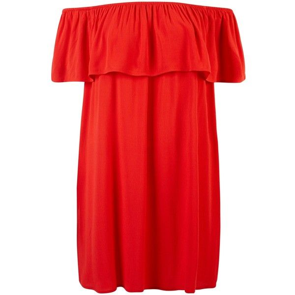 Red Frill Trim Bardot Neck Beach Dress ($23) ❤ liked on Polyvore featuring dresses, red beach dress, beach dresses and red dress