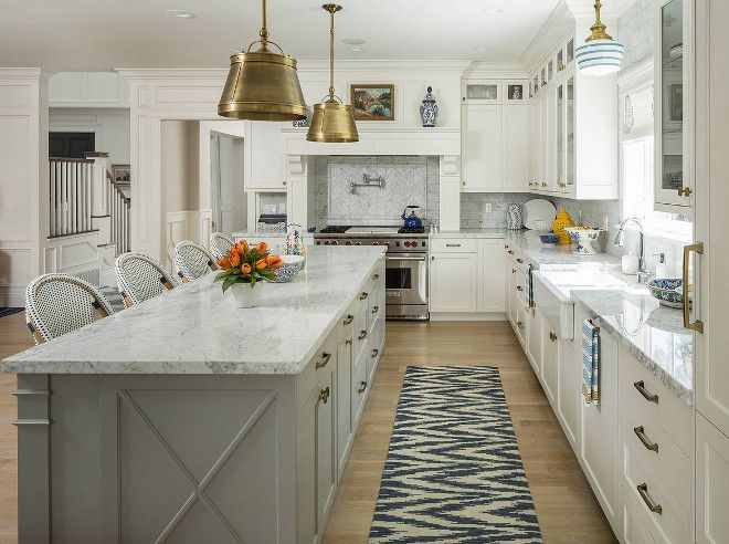 Brass Hardware Brass Lights Carrara Marble Countertops Grey Cabinets Marble  Countertops Rug Runner BM Simply White Cabinets White Kitchen (look At  Pattern ...