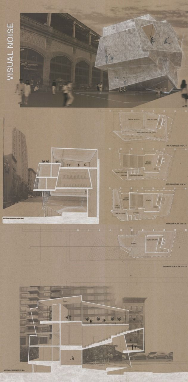 Final project board, 1st semester; Dance Studios with Performance Space at the Queensborough Bridge, Manhattan