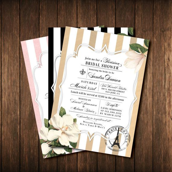 Parisian Themed French Bridal Shower Invitations - Paris France - Fleur de Lis - Eiffel Tower - Black & White Striped - Antique Gold, Pink, Vintage Floral - Printed Invites and Envelopes - Free Custom Colors