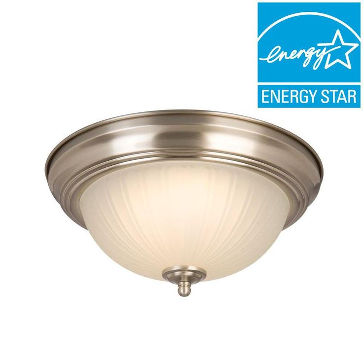 Commercial Electric Twin Pack Brushed Nickel, $17.50  LED Flushmount-HQV8011L/BN - The Home Depot