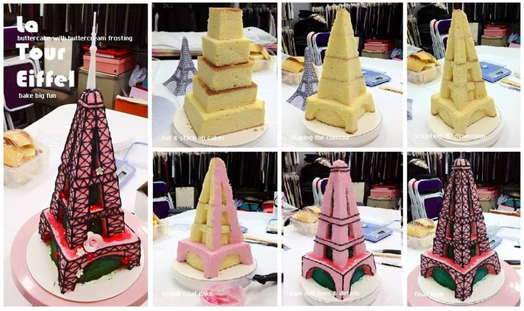 3D Eiffel tower buttercake tutorial...cut & stack up cake cubes....shape & sculp the coutour, buttercream frosting, final touch up with fondant flap & sugar flowers décor...finished!!! via bake big fun (FB) ↓ http://www.facebook.com/pages/bake-big-fun/177973195602687