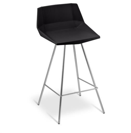Sgabello in metallo con sedile e schienale imbottiti in ecopelle