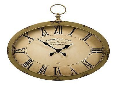 Sophie Oval Rustic Antique Finish Brown Beige Wall Clock Iron Decor Imax 89019 The Sophie oval wall clock features an antiqued sage green finish and looks great with a variety of Decor. Material is 70