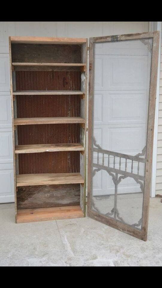 Put an old screen door on a cabinet for an unusual vintage look.