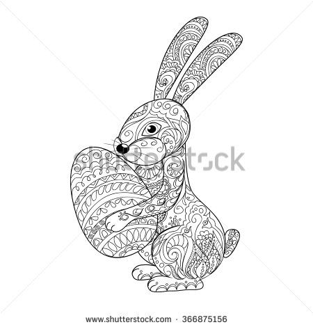 Hand drawn decorated cartoon rabbit  with egg.  Henna Paisley flowers Mehndi. Image for adult or children coloring  page, tatoo,  decorate dishes, cups, porcelain, ceramics, walls. eps 10.