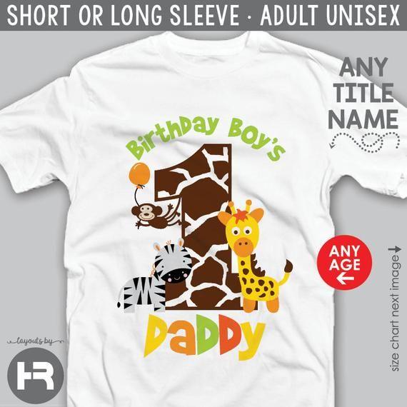 Personalised First 1st Birthday Safari Animals Family Matching T Shirts Set