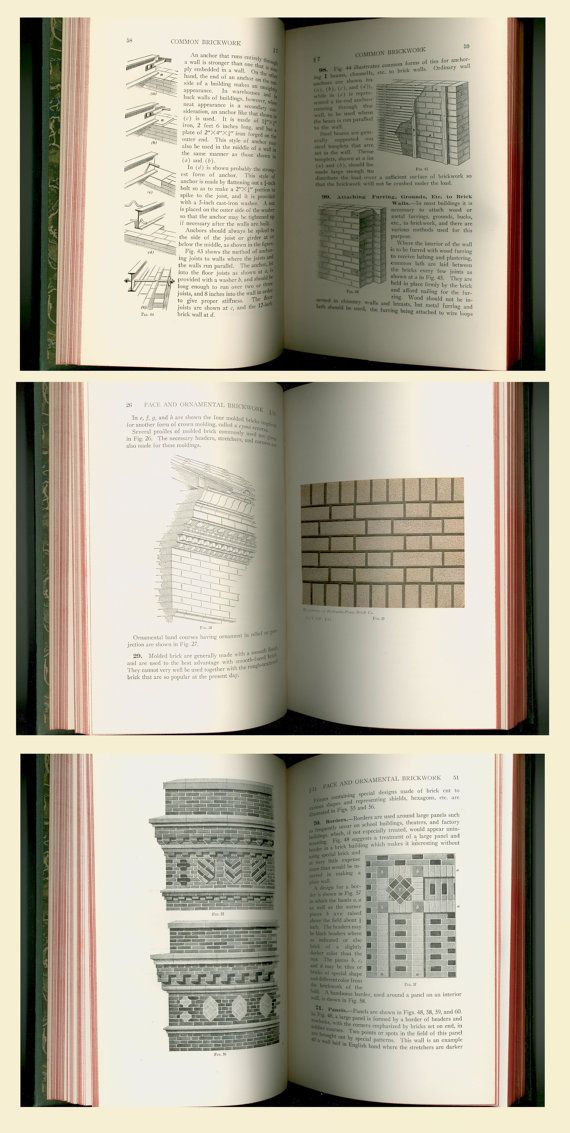 """Classic Professional Masonry Instruction from 1924: """"Bricks, Stone and Plaster"""", Vintage Book on Common and Ornamental Brickwork, Architectural Terra Cotta, Building Stone, Hollow Tile, Plastering. Lavishly illustrated. International Library of Technology No. 31F, Published by The International Textbook Company. For sale by Professor Booknoodle on Etsy. $75.00 USD"""