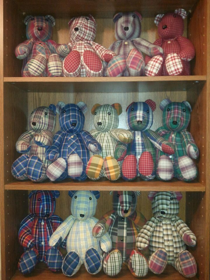 Memory Bears are made from a shirt from a loved one who has passed on. Check out my website creativecraftsbydawn.webs.com