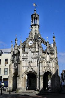 Market Cross in Chichester, West Sussex, England. Situated in the centre of Chichester, and standing at the intersection of the four principal streets. Build by Edward Story, Bishop of Chichester from 1477 to 1503. It was built to provide poor people with somewhere to sell their wares and as a meeting point