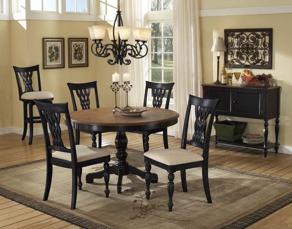 Rubbed Black Round Pedestal Hardwood Dining Room Table Set