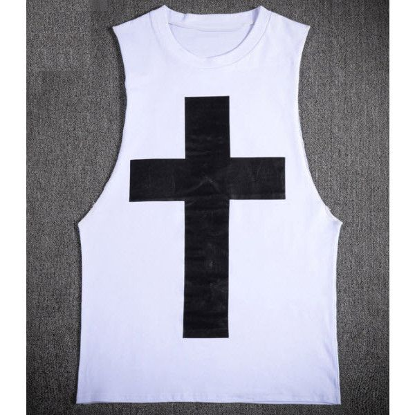 Cross Tank top (260 VEF) ❤ liked on Polyvore featuring men's fashion, men's clothing, men's shirts, men's tank tops and white