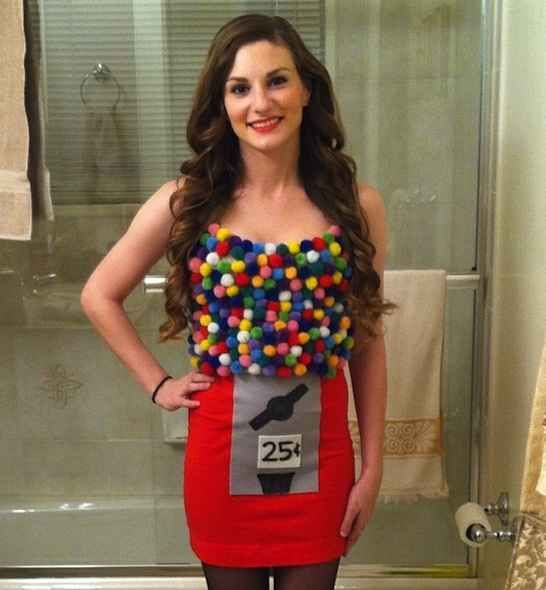 Glue poms-poms onto a tank top to make a cute gumball machine. 21 cheap costumes