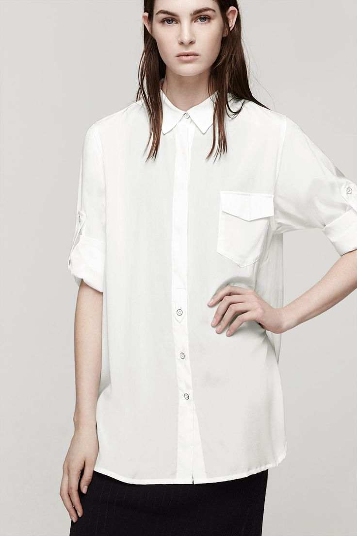 SHIRRED BOYFRIEND SHIRT