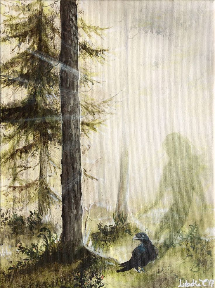 Original art: Raven Spirit. Raven, Corvid, spirit, animal, forest, woods, nordic, scandinavian, shaman, magic, realism, nature, bird, pine