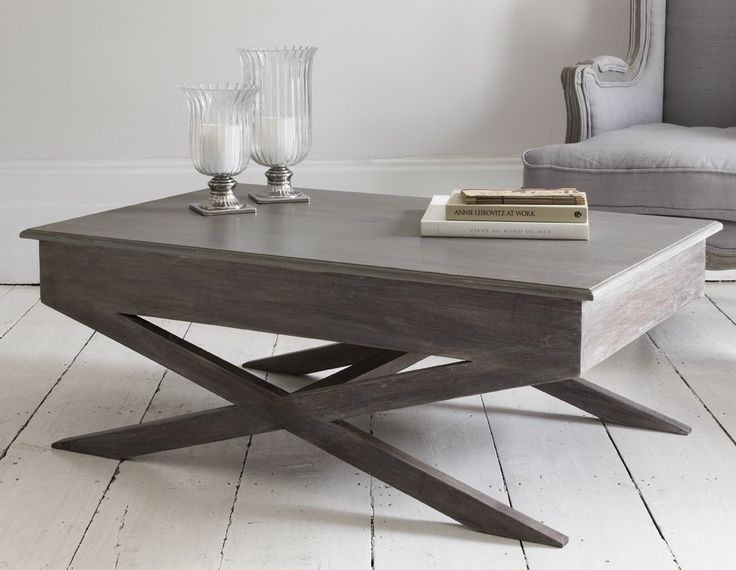 Elegant And Contemporary Coffee Table With A Storm Grey Matte Painted Finish Top And Dark Natural Limed Wood Base