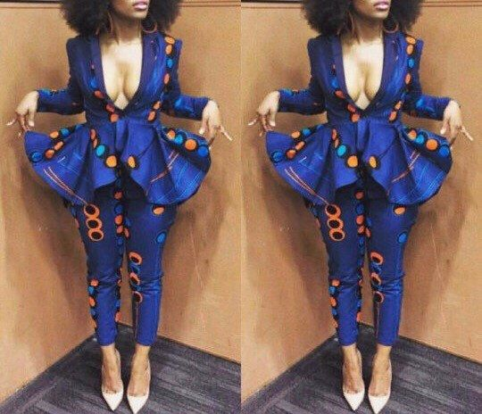 NuVu Jacket with peplum and Pants, african jumpsuit, ankara, african print, african clothing, african dress, the african shop, africa by HouseOfIzzi on Etsy https://www.etsy.com/listing/449101252/nuvu-jacket-with-peplum-and-pants