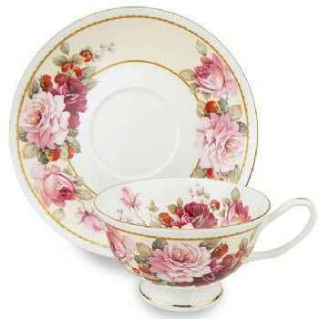 Strawberry & Peony Bone China Teacup (Tea Cup) & Saucer