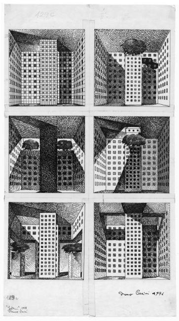 Franco Purini, Interni, 1976, China su carta da lucido, 49x27,5 cm. Copyright: Franco Purini / Courtesy: Collezione Francesco Moschini e Gabriel Vaduva A.A.M. Architettura Arte Moderna #sketch