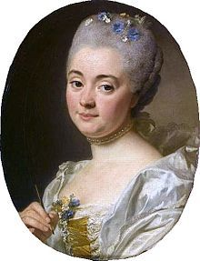 Mme Vien or Marie-Therese Reboul (1728-1805) by Alexander Roslin (1718-1793),  Held at Versailles Madame Vien, a miniaturist, was a member of the Old Regime Academie (her work is discussed by Diderot briefly in his Salons).  Her portrait here must have been painted in the late 1760s or early 1770s, perhaps in the last years of the life of his own artist wife, Suzanne de Giroust, who studied with Vien (as well as with Quentin de la Tour) (she died at age 38 of breast cancer in 1772).