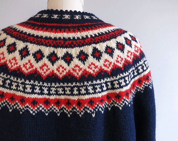 Vintage Nordic Wool Fair Isle Cardigan / 1960s Hand Knit Sweater Navy Red Cream. $88.00, via Etsy.