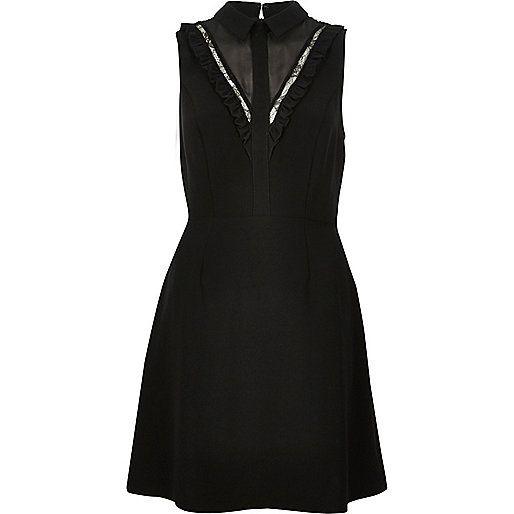 Zwarte jurk van kant met ruche - Casual en T-shirtjurken - jurken - dames