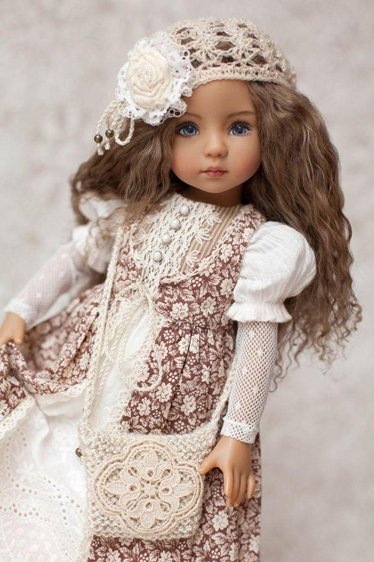 Outfit für Puppe Little Darling / Kleid mit Spitze / Boho ...