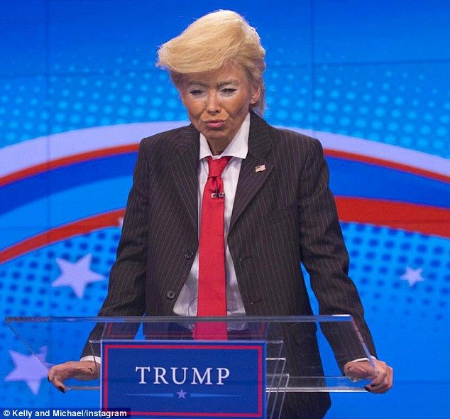 Trumped: Kelly Ripa donned a frighteningly accurate Donald Trump costume on Thursday ahead of the annual Live With Kelly And Michael Halloween special