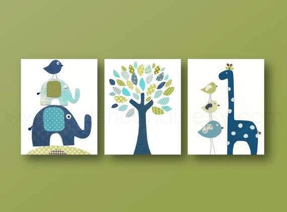 Nursery art prints, baby nursery decor, nursery art, Bird, elephant, tree, giraffe, blue green, navy, Set of 3, 8x10 prints from Paris