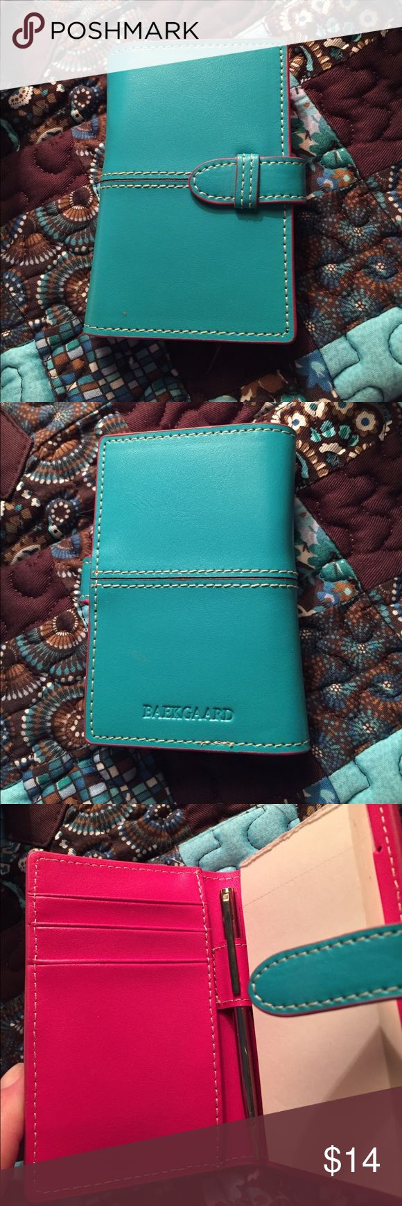 Leather Baekgaard Mini Notebook Adorable leather mini notebook for purse or pocket - Leather - Turquoise and pink. Used a couple prices of paper. Refills available online since this will last a long time 😊 Vera Bradley Other