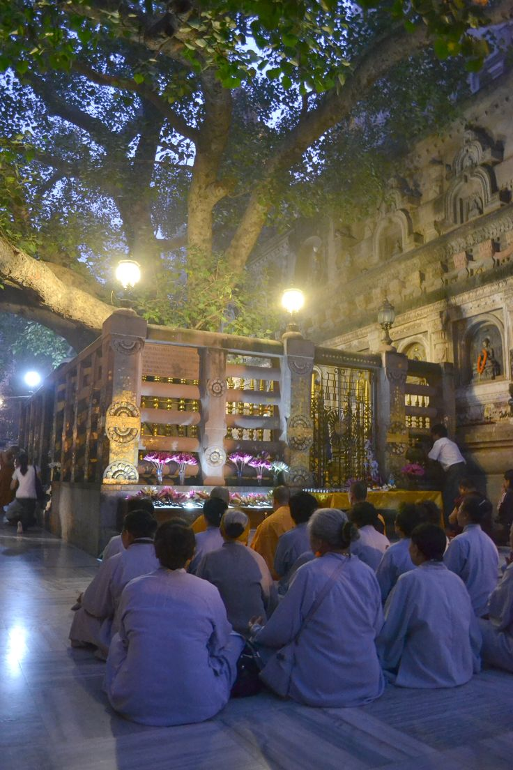 The Vajrashila, where Gautama sat under a tree and became enlightened, Bodh Gaya, India,