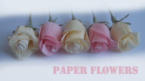 Table Runner Light Crepe Paper Flowers by moniaflowers on Etsy