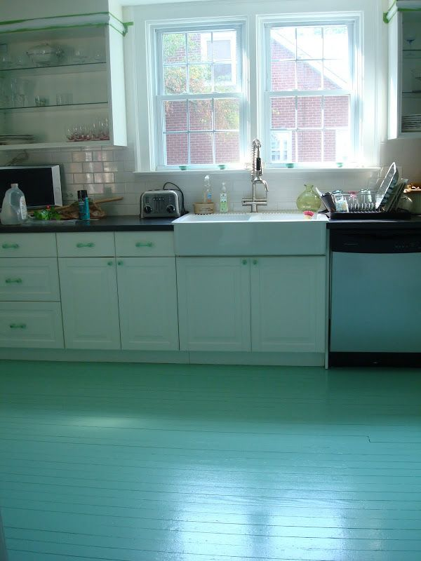 great step by step instructions for how one blogger painted her kitchen floor for - Painted Kitchen Floor Ideas