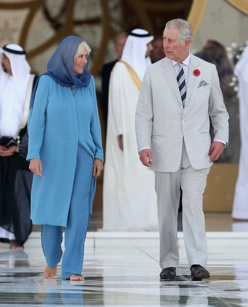 Camilla, Duchess of Cornwall and Prince Charles, Prince of Wales visit the Grand Mosque on the first day of a Royal tour of the United Arab Emirates on November 6, 2016 in in Abu Dhabi, United Arab Emirates.