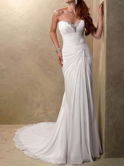 Sheath/Column Sweetheart Chiffon Court Train Beading Wedding Dresses -USD$245.40