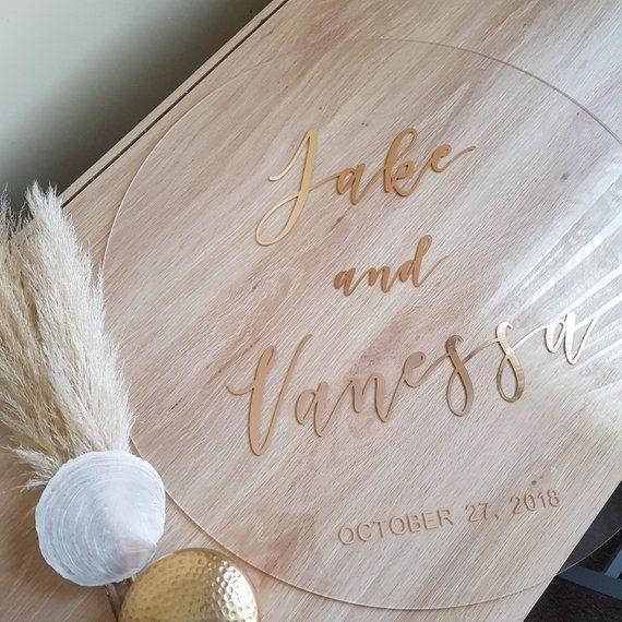 Rose Gold Wedding Sign, Round Acrylic Welcome Sign, Round Wedding