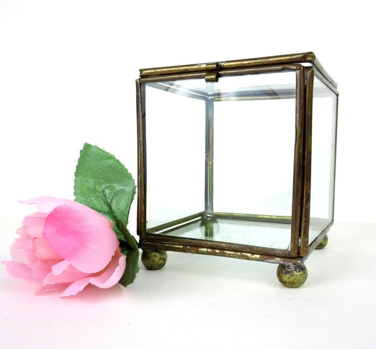 New to 2goodponiesvintage on Etsy: Square Brass and Glass Display Box - Antique Glass Display Case - Ring Box - Jewelry Box - Glass Storage Box (24.99 USD)