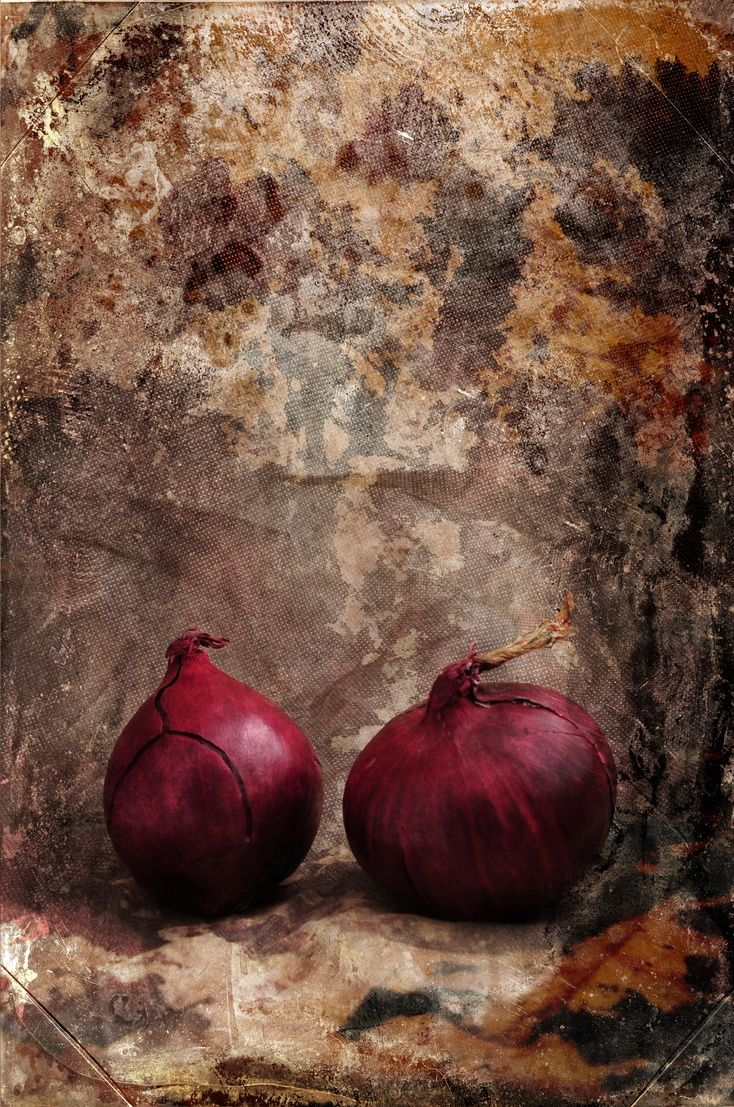 ARTFINDER: Two Red Onions by Randi Grace Nilsberg - Photography with textures.  One in a series of 3 different images of onions.  Perfect for the kitchen  or restaurant.