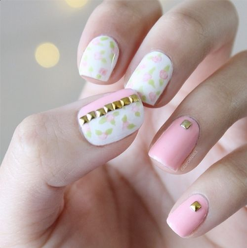 wow what an amazing girly and kind of vintage and edgy nail design for the spring.