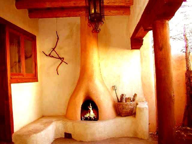 A lovely little outdoor kiva fireplace