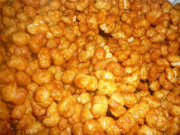 """Caramel Puff Corn from Food.com:   Puff Corn can be found in the potato chip aisle of your grocery store. (The brand we have is Old Dutch, but I'm sure there are others.) Making caramel corn this way gives you great big """"kernels"""" with no hulls or old maids. Quite addictive. Great at a party. Makes nice gifts too."""