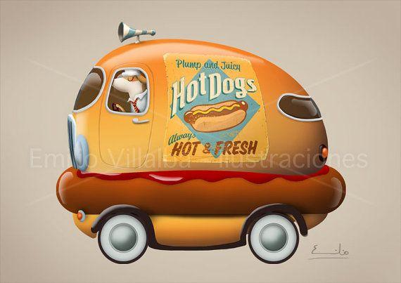 You MUST go see Emilio's shop on Etsy!!!  Too cute!    Children illustration art print orange hot dog by emiliovillalba on Etsy.com