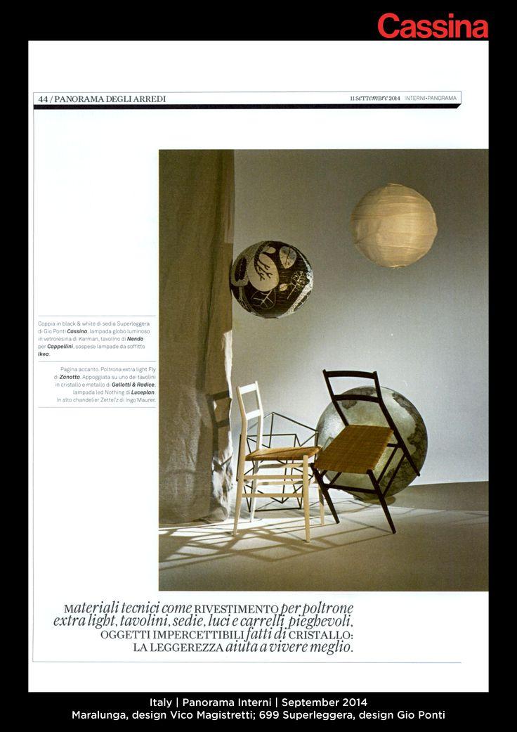 Italy | Panorama Interni | September 2014 | Maralunga, design Vico Magistretti; 699 Superleggera, design Gio Ponti| Discover more on:http://cassina.com/it/collezione/sedie-e-poltroncine/699