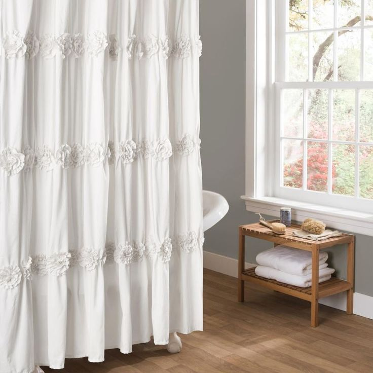 White Flower Traditional Shower Curtain Bathroom Romantic Vintage Look 72 X