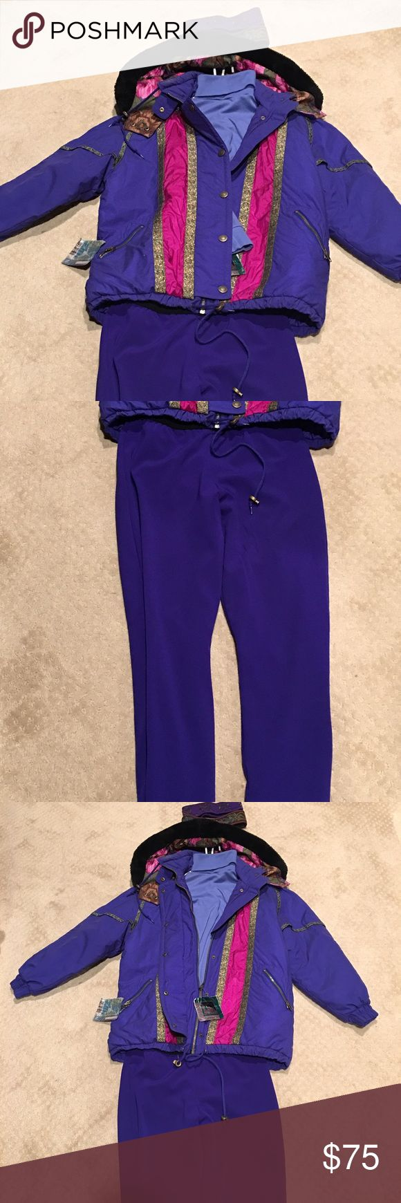 5 piece Royal Purple ski ensemble. SALE on this georgous Purple ski ensemble. You'll be ready to hit the slopes- all you'll need is boots skis and a pass and your ready to go. OSSI SKI JACKET size M, Faux fur floral hood, zip and snap front closure. OSSI turtleneck size M, TYROLIA lined ski pants with extra wide elastic waistband for super comfort. OSSI and TYROLIA Other