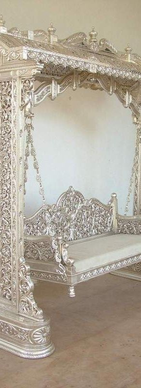 Silver Leaf Garden Swing .. In a perfect setting with silk pillows...