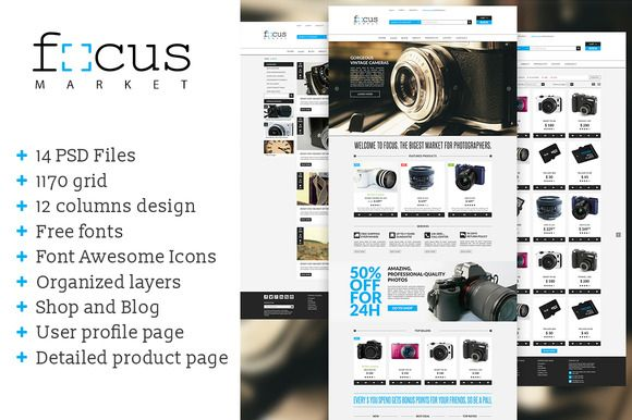 Focus Market - One page PSD template by cultcat on @creativemarket