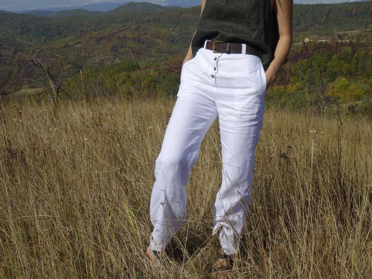 High waisted Linen Pants, Buttoned Trousers, Sustainable fashion, Ethical closet, Slow fashion